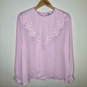 Vintage 80's Nilani Blouse with Wide Collar
